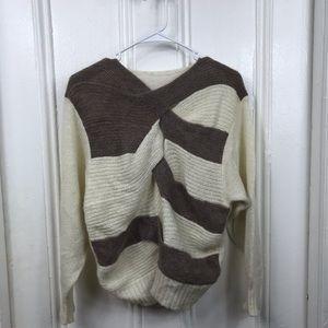 Vintage 90s mohair twist front sweater cream gray